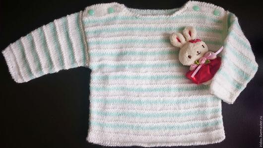 Для новорожденных, ручной работы. Ярмарка Мастеров - ручная работа. Купить Пуловер в полоску для малыша. Handmade. Бело-бирюзовый
