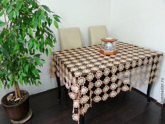 Текстиль, ковры ручной работы. Ярмарка Мастеров - ручная работа. Купить Скатерть вязаная  винтажная бежевая квадратная  хлопок. Handmade.