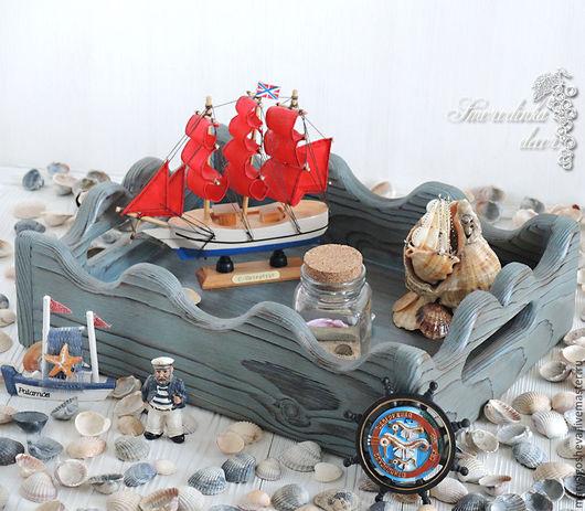 Корзины, коробы ручной работы. Ярмарка Мастеров - ручная работа. Купить Интерьерный ящик-поднос Мечты о море. Handmade. Голубой