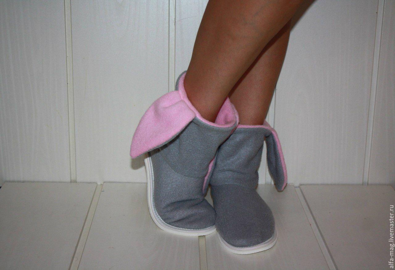 Обувь ручной работы. Ярмарка Мастеров - ручная работа. Купить Тапочки-зайчики. Серенький зайка. Handmade. Подарок, тапочки домашние
