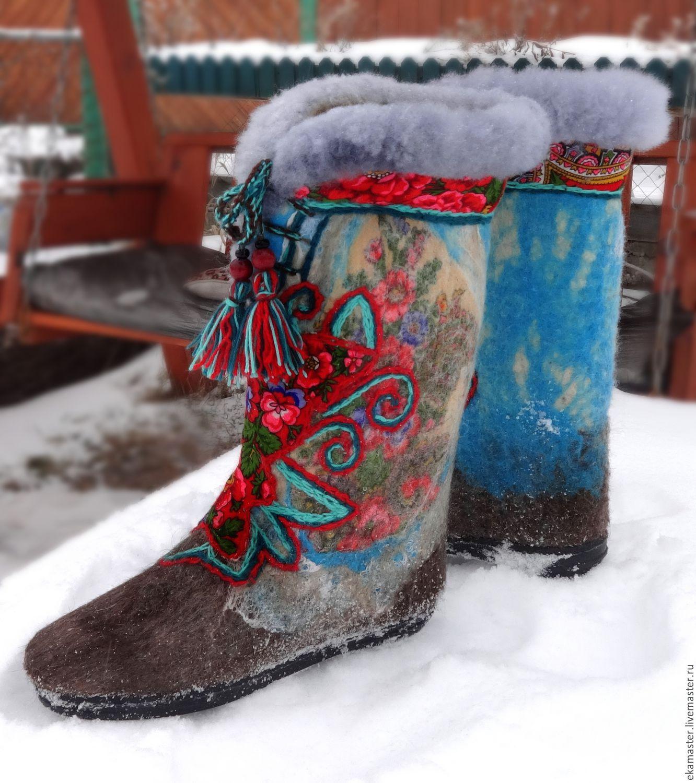 Handmade Shoes handmade. Livemaster - handmade. Buy Felt boots 'Russian festivities'.Russian style, new year 2016