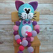 handmade. Livemaster - original item The cat Is purple with a beaded toy, crochet. Handmade.