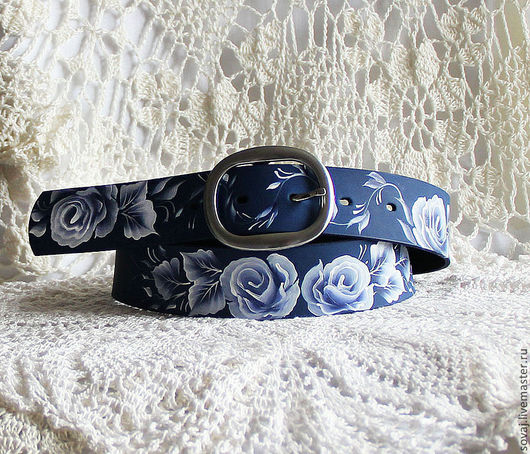 Belts handmade. Livemaster - handmade. Buy Strap leather women's 'White flowers'.Leather, floral