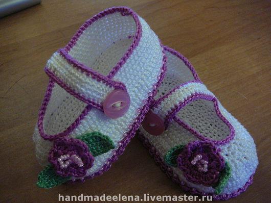 Для новорожденных, ручной работы. Ярмарка Мастеров - ручная работа. Купить туфельки-пинетки. Handmade. Пинетки десткие девочек