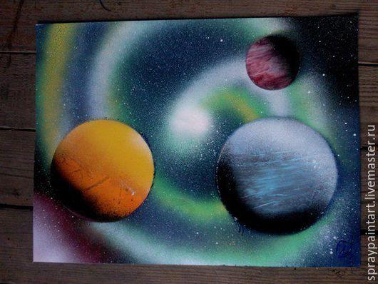 Фантазийные сюжеты ручной работы. Ярмарка Мастеров - ручная работа. Купить Уникальные картины Spray Paint Art (аэрография) Парад планет. Handmade.