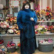 Одежда handmade. Livemaster - original item Fur coat mink with lambskin turquoise . LARGE size. Handmade.