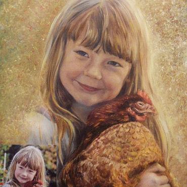 Картины и панно ручной работы. Ярмарка Мастеров - ручная работа Картины: Девочка с курочкой. Handmade.