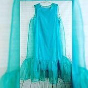 Одежда ручной работы. Ярмарка Мастеров - ручная работа платье из органзы с воланом. Handmade.