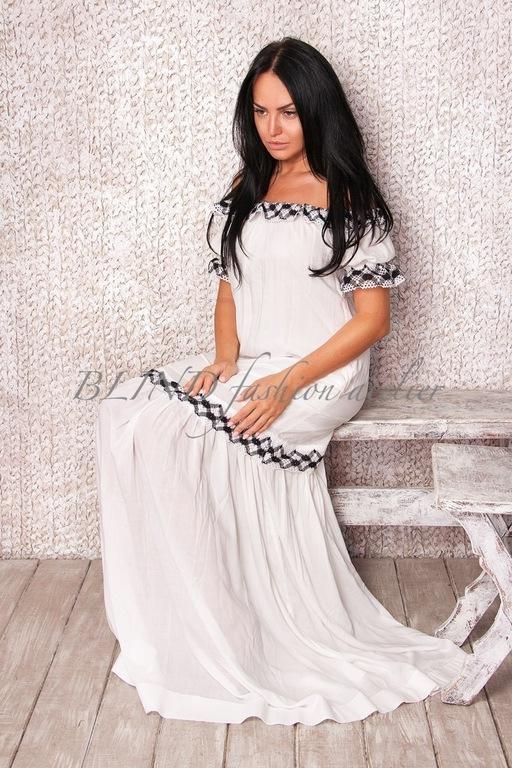 Платья ручной работы. Ярмарка Мастеров - ручная работа. Купить Платье из хлопка 00070. Handmade. Белый, шелк, blind
