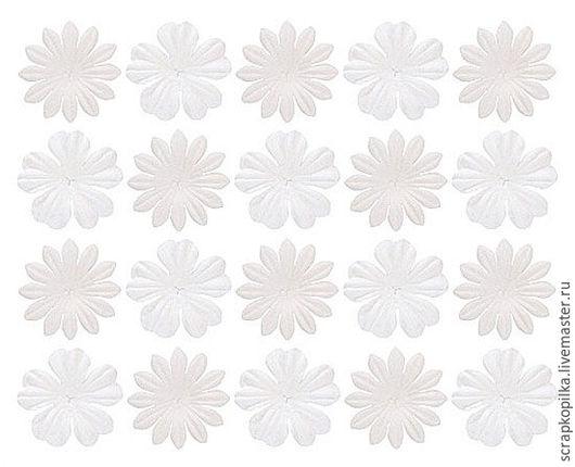 Набор цветков из шелковичной бумаги 2 вида Белый (20 шт) SCB300811