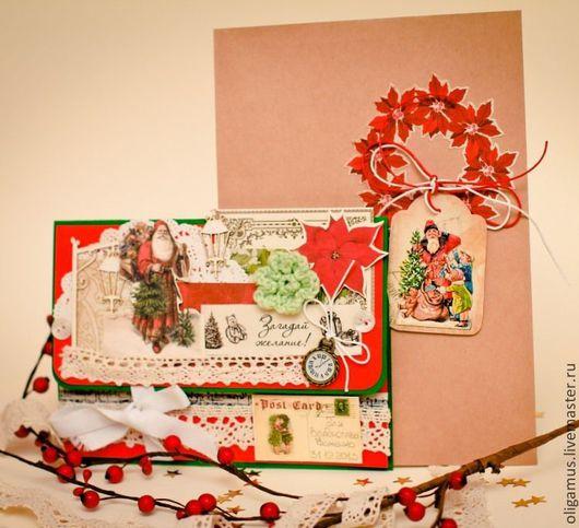 Открытки к Новому году ручной работы. Ярмарка Мастеров - ручная работа. Купить Письмо от Дедушки Мороза. Handmade. Красный