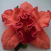 Брошь-булавка ручной работы. Ярмарка Мастеров - ручная работа Текстильная брошь Орхидея Тропиканка. Handmade.