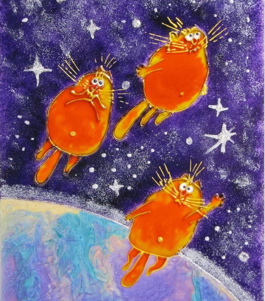 Животные ручной работы. Ярмарка Мастеров - ручная работа. Купить Солнечные коты покоряют космос. Синие коты Рины Зенюк.. Handmade.