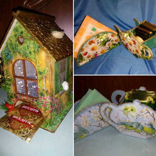 Подарочные наборы ручной работы. Ярмарка Мастеров - ручная работа. Купить Чайные домики, чайники для чайных пакетиков, салфетницы. Handmade.