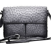Сумки и аксессуары handmade. Livemaster - original item Men`s shoulder bag, Python or starus leather, in black.. Handmade.