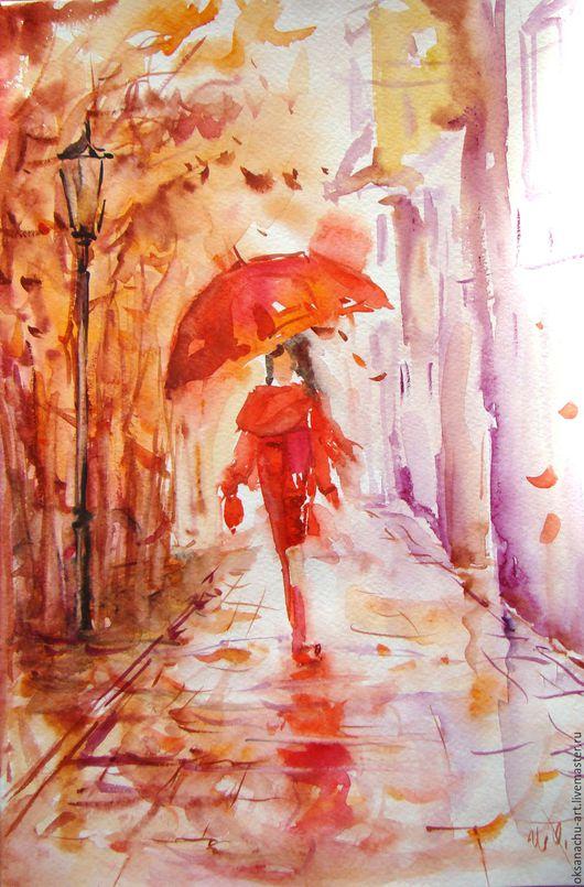 """Люди, ручной работы. Ярмарка Мастеров - ручная работа. Купить Картина-принт""""Мелодия дождя"""". Handmade. Ярко-красный, зонтик, фиолетовый"""