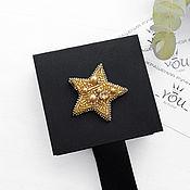 Украшения handmade. Livemaster - original item Gold star beaded brooch. Silver-black star brooch. Handmade.
