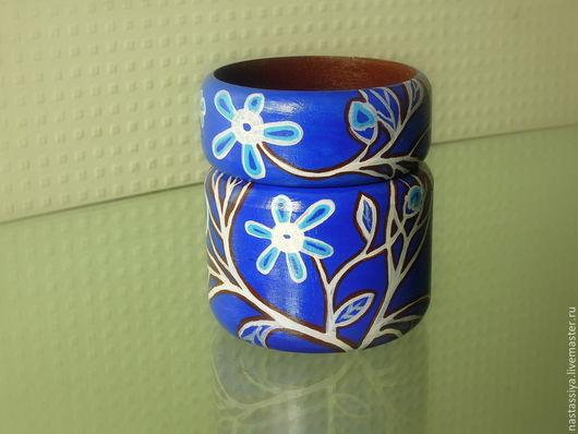 """Браслеты ручной работы. Ярмарка Мастеров - ручная работа. Купить Комплект браслетов """"Цветение на синем"""". Handmade. Синий, расписной браслет"""