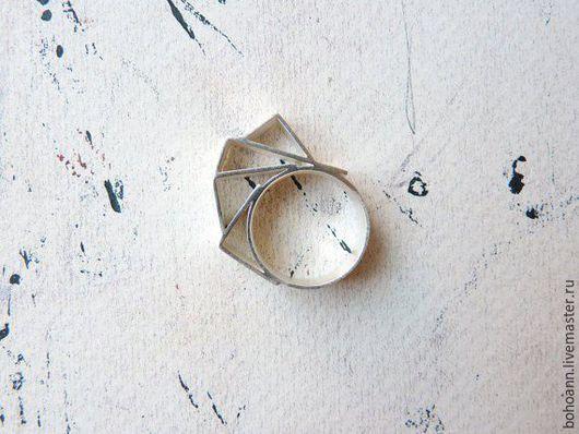 Кольца ручной работы. Ярмарка Мастеров - ручная работа. Купить Геометрическое кольцо. Handmade. Серебряный, колье ручной работы