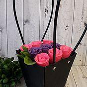 Цветы ручной работы. Ярмарка Мастеров - ручная работа Гламурный букетик цветов в чёрном кашпо-сумке. Handmade.