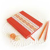 """Канцелярские товары ручной работы. Ярмарка Мастеров - ручная работа Блокнот для записей """"Оранжевый"""". Handmade."""