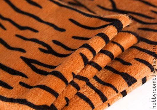 Шитье ручной работы. Ярмарка Мастеров - ручная работа. Купить Ткань Плюш 150 гр/кв.м Тигровый. Handmade. Рыжий