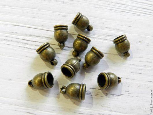 Концевик для шнуров, жгутов под Бронзу, размер 12x7x7 мм, внутренний диаметр 5,5-6 мм, глубина 7 мм, материал сплав металлов, не содержит свинца и никеля (арт. 1891)