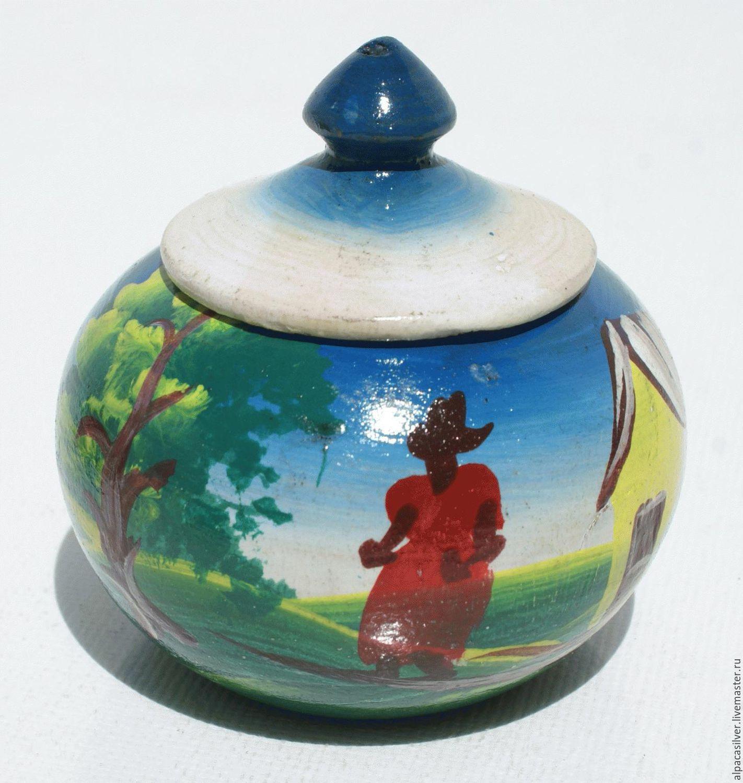 Деревянная светлая чашка с рисунком по бокам, высота 10 см, Вазы, Геленджик,  Фото №1