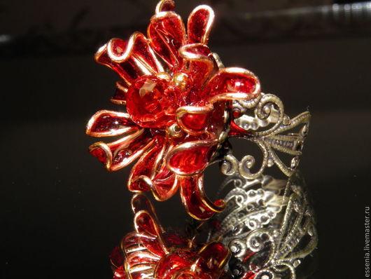 """Кольца ручной работы. Ярмарка Мастеров - ручная работа. Купить Кольцо """"Ледяная хризантема"""". Handmade. Оранжевый, прозрачный"""