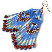 Украшения ручной работы. Ярмарка Мастеров - ручная работа Синие длинные  серьги из бисера. Handmade.