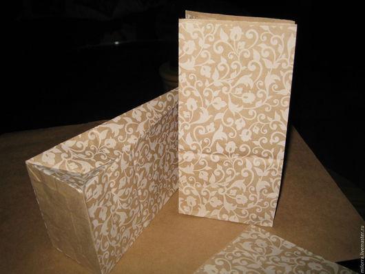Упаковка ручной работы. Ярмарка Мастеров - ручная работа. Купить Крафт пакет  19х10х7 см. Растительный орнамент.. Handmade. Крафт