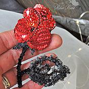 Брошь-булавка ручной работы. Ярмарка Мастеров - ручная работа Красная роза- брошь, вышивка бисером, брошь цветок, красная брошь. Handmade.
