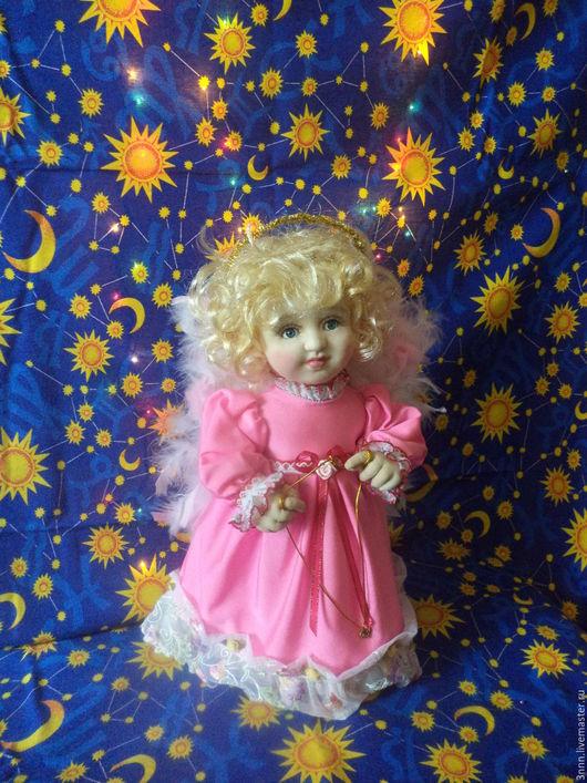 Коллекционные куклы ручной работы. Ярмарка Мастеров - ручная работа. Купить ангел-хранитель. Handmade. Розовый, Праздник, шёлк