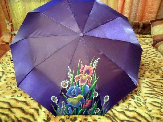 """Зонты ручной работы. Ярмарка Мастеров - ручная работа. Купить Зонт ручной росписи """"Ирисы"""". Handmade. Тёмно-фиолетовый, зонт"""