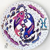 Картины и панно handmade. Livemaster - original item Pisces zodiac sign-decorative plate-fish gift. Handmade.