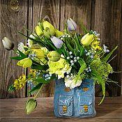 Композиции ручной работы. Ярмарка Мастеров - ручная работа Композиции:Тюльпаны в керамической вазе. Handmade.