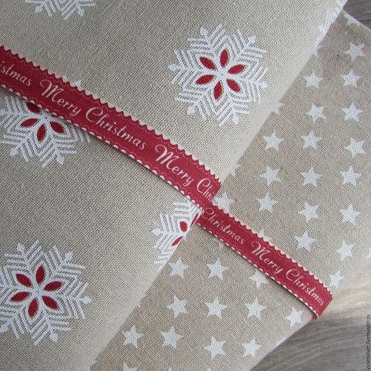 Лента хлопковая декоративная 15мм, Merry Chistmas 230