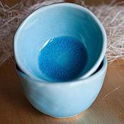 """Посуда ручной работы. Ярмарка Мастеров - ручная работа Пара керамических  пиалок  """"Безумно голубые""""Проданы. Handmade."""