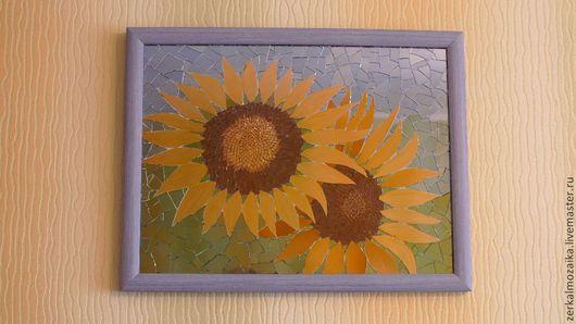 """Картины цветов ручной работы. Ярмарка Мастеров - ручная работа. Купить Панно """"Два подсолнуха"""" из цветного зеркального стекла. Мозаика. Handmade."""