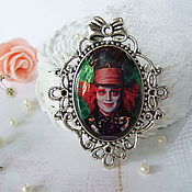 Brooches handmade. Livemaster - original item Vintage Brooch Mad Hatter Alice in Wonderland. Handmade.