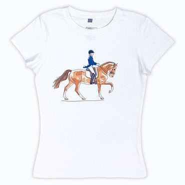 Одежда ручной работы. Ярмарка Мастеров - ручная работа Авторская футболка выездка. Handmade.