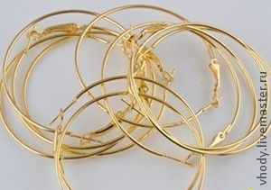 Для украшений ручной работы. Ярмарка Мастеров - ручная работа. Купить Серьги кольца, основа. Handmade. Золотой, серьги кольца