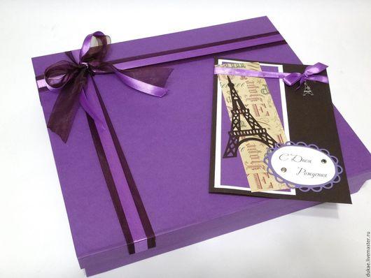 Подарочная упаковка ручной работы. Ярмарка Мастеров - ручная работа. Купить Подарочная коробка с открыткой ручной работы. Handmade. Фиолетовый