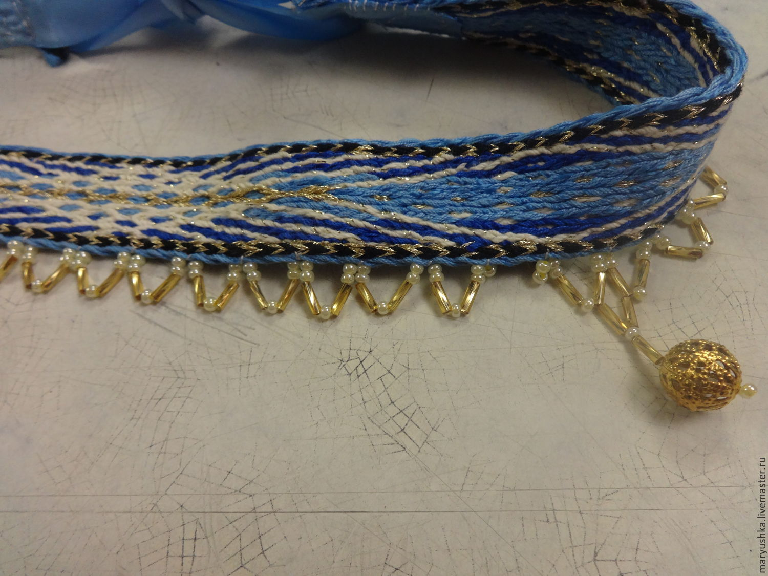 Headband, acelia-blue with a gold woven on the plates, Belts and ribbons, Sestroretsk,  Фото №1
