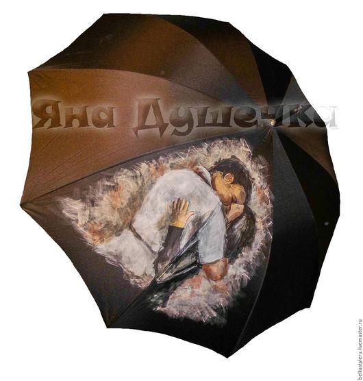 """Зонты ручной работы. Ярмарка Мастеров - ручная работа. Купить Зонт с ручной росписью """"Влюбленные"""". Handmade. Зонт, зонт с росписью"""