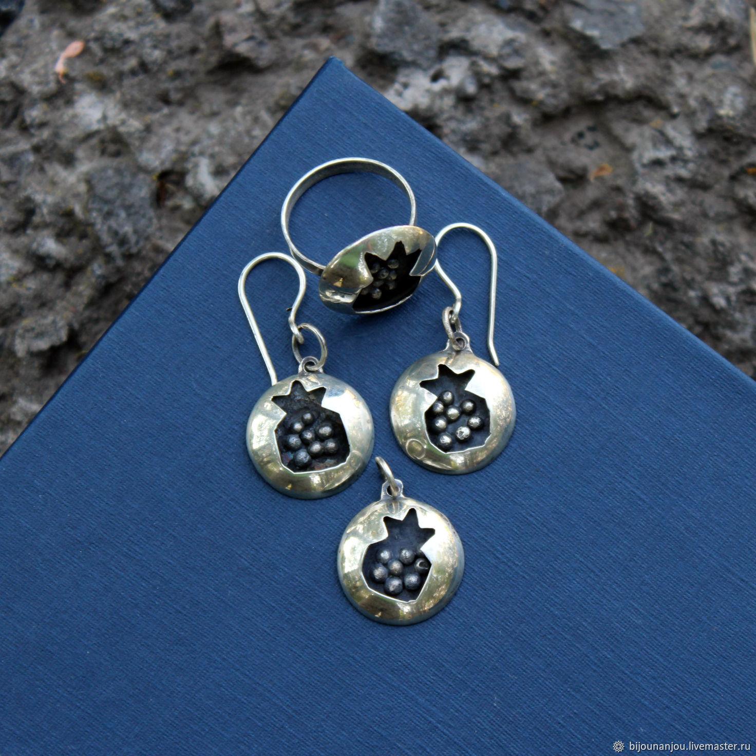 Earrings, ring and pendant Garnet 925 silver, Jewelry Sets, Yerevan,  Фото №1
