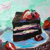 Картины и панно handmade. Livemaster - original item Oil Painting Chocolate Cake 15/15 cm.. Handmade.