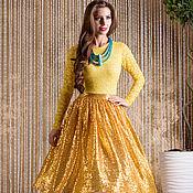 Одежда ручной работы. Ярмарка Мастеров - ручная работа Жёлтое платье ) пайетки и кружева. Handmade.