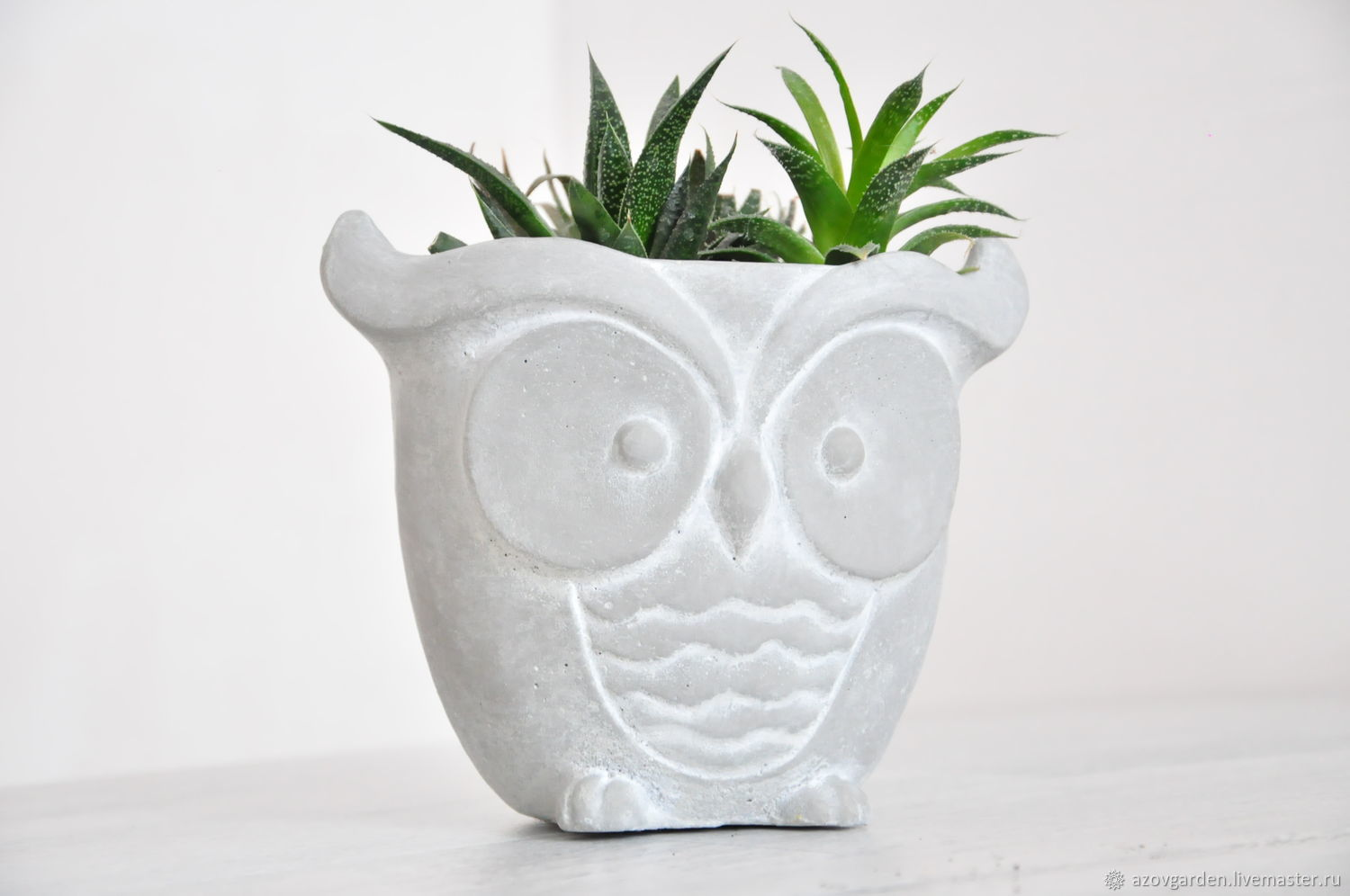 The pot of flowers Owl of concrete, grey, creative for plants, Pots1, Azov, Фото №1