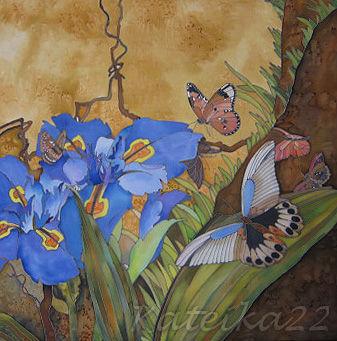"""Картины цветов ручной работы. Ярмарка Мастеров - ручная работа. Купить Картина-батик """"Бабочки и ирисы"""". Handmade. Батик ирисы"""